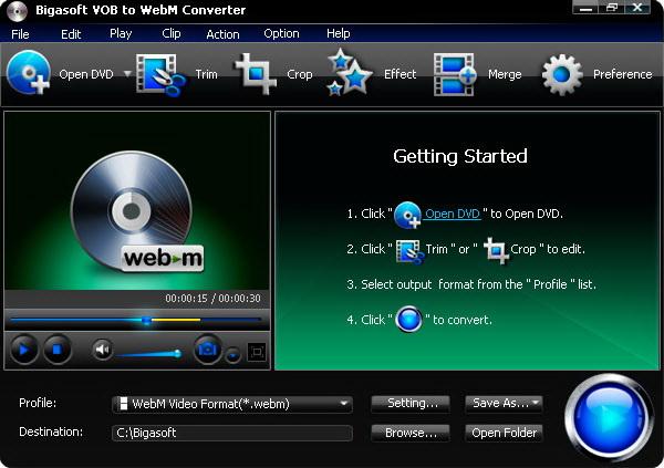Bigasoft VOB to WebM Converter截图1
