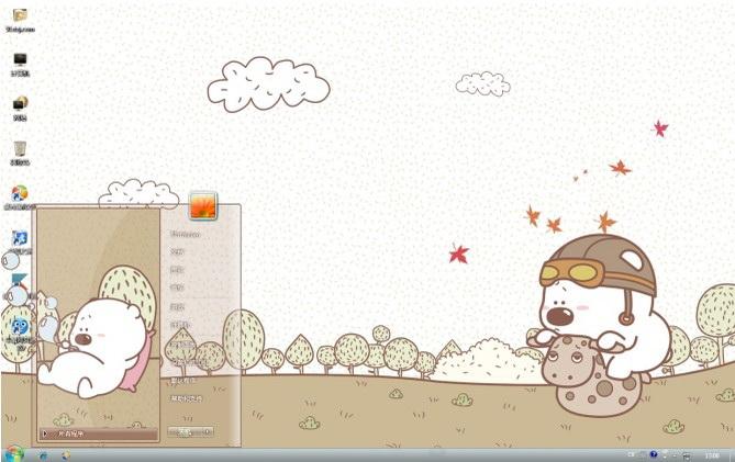 小囧熊卡通背景win7主题截图1