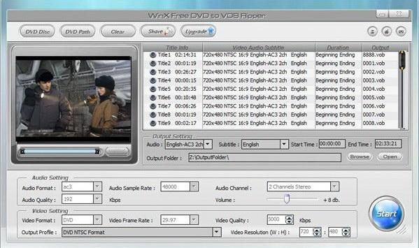 WinX Free DVD to VOB Ripper截图1