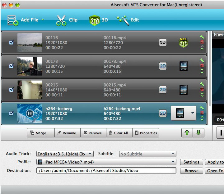 Aiseesoft MTS Converter for Mac截图1