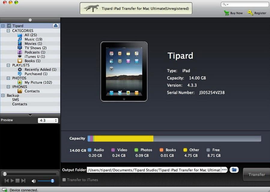 Tipard iPad Transfer for Mac Ultimate截图1