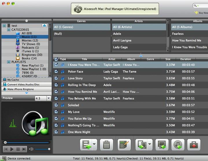 Aiseesoft Mac iPod Manager Platinum截图1