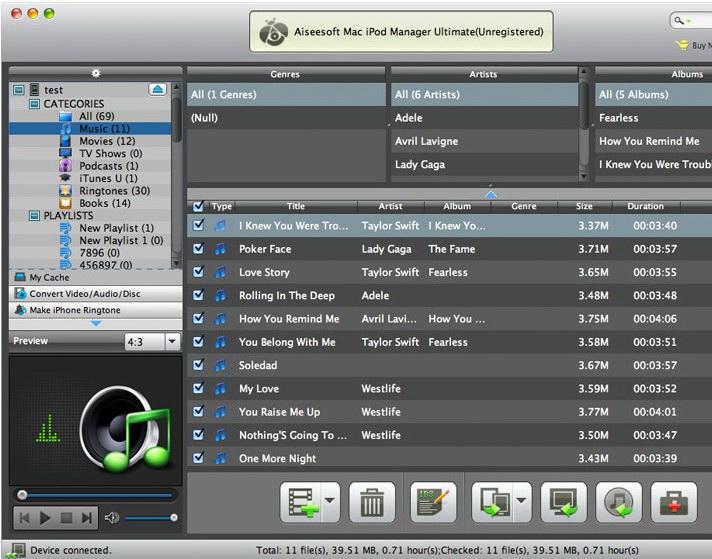 Aiseesoft Mac iPod Manager Standard