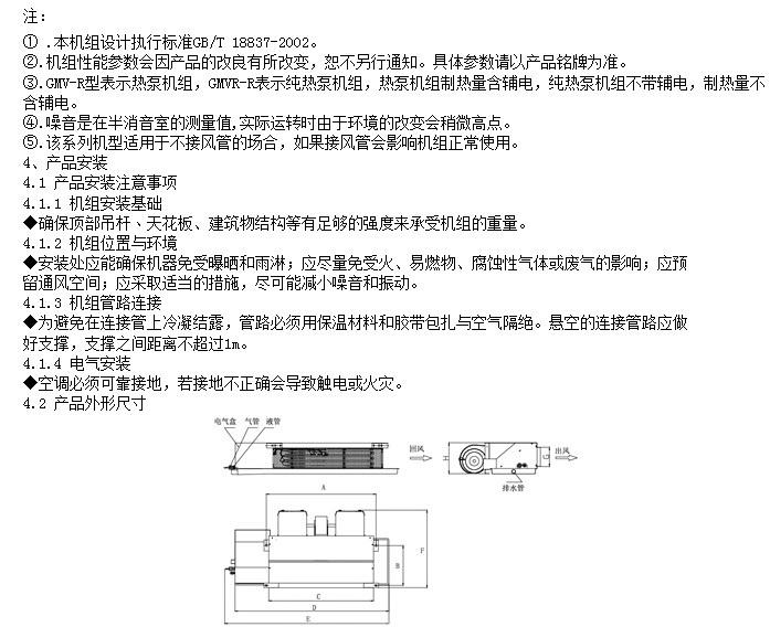 格力GMVR-R22P/NaL多联空调机组室内机安装说明书截图2