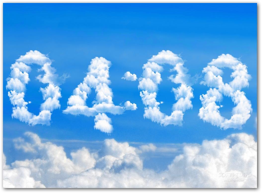 Blue Clouds Clock Screensaver截图1