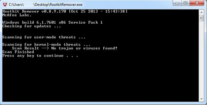 McAfee Rootkit Remover截图1