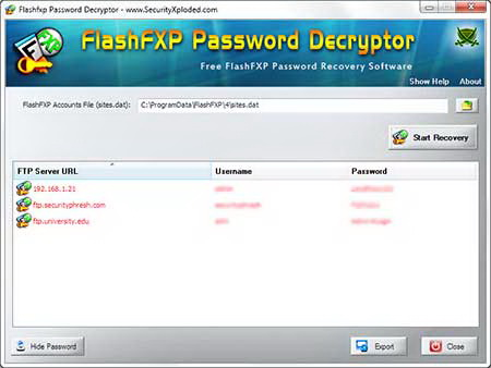 Flashfxp Password Decryptor截图1