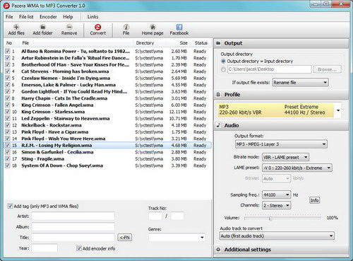 Pazera WMA to MP3 Converter Portable截图1