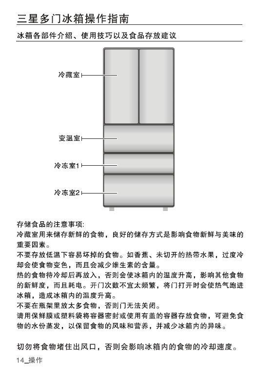 三星BCD-402DSSWW1电冰箱使用说明书截图2