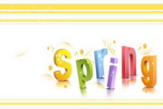 spring花纹立体字矢量图2