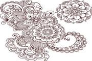 傳統花紋裝飾圖案矢量圖