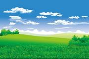 郊外草地風光矢量圖