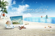 夏日海�笤次募�素材