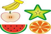 彩色手绘水果