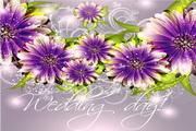 精美艳丽花卉背景矢量图