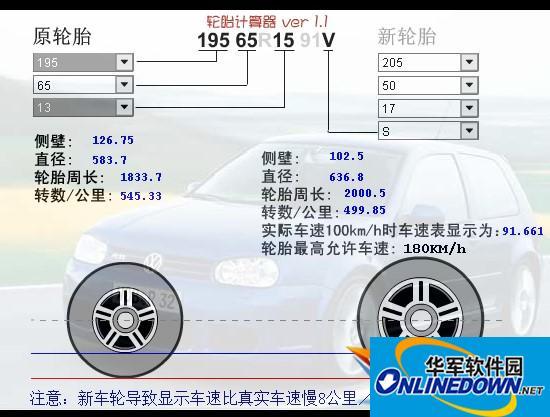 轮胎计算器软件