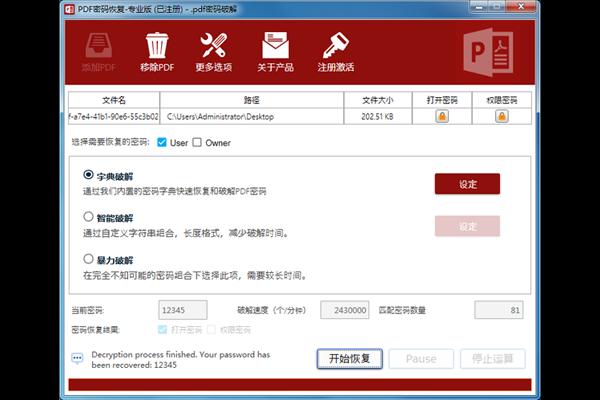 PDF密码恢复工具截图1