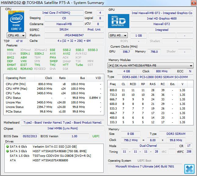 硬件检测(HWiNFO32)截图