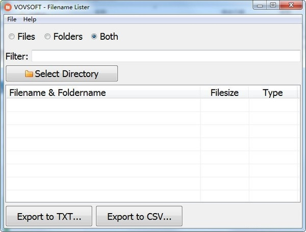 Filename Lister截图