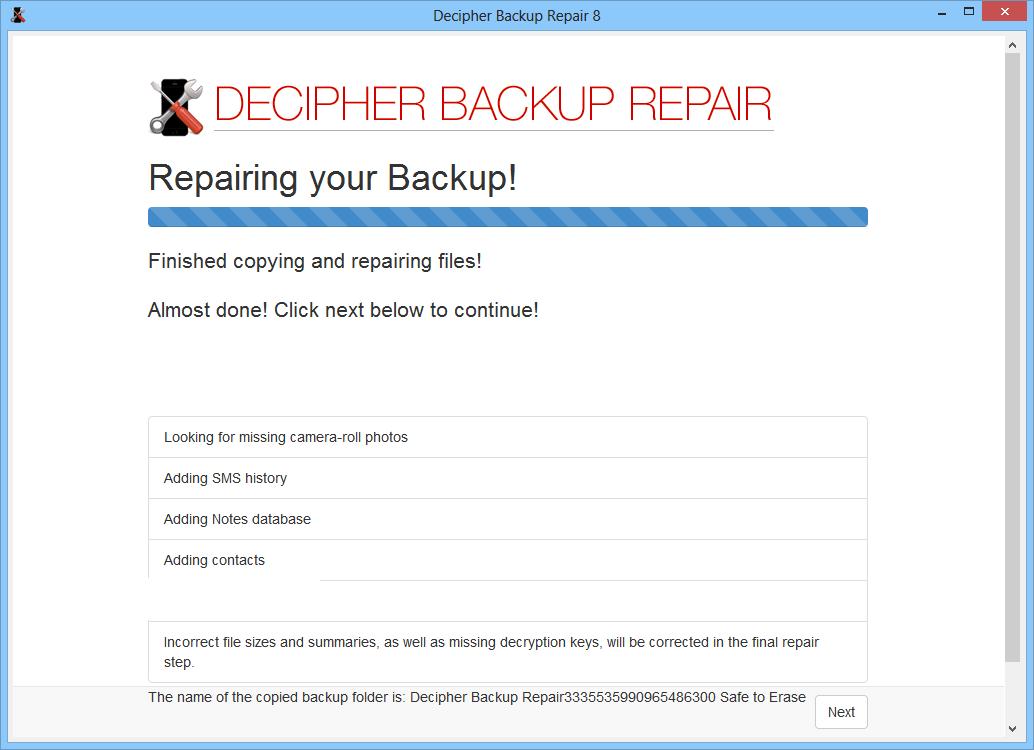 Decipher Backup Repair