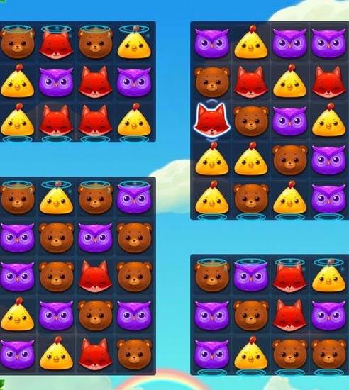 开心消消乐第7关图文攻略 消除36只鸡熊和狐狸