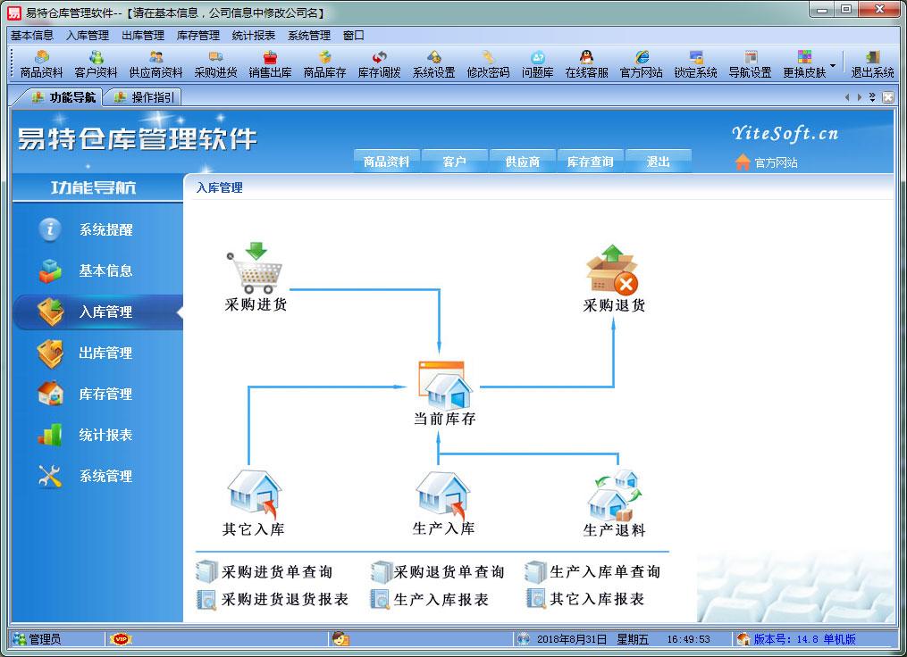 易特仓库管理软件 网络版截图1