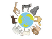 現實的動物貼紙