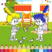 男孩和女孩游乐场着色游戏的孩子