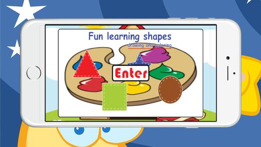 有趣的形状学习绘画和着色早期教育游戏截图1
