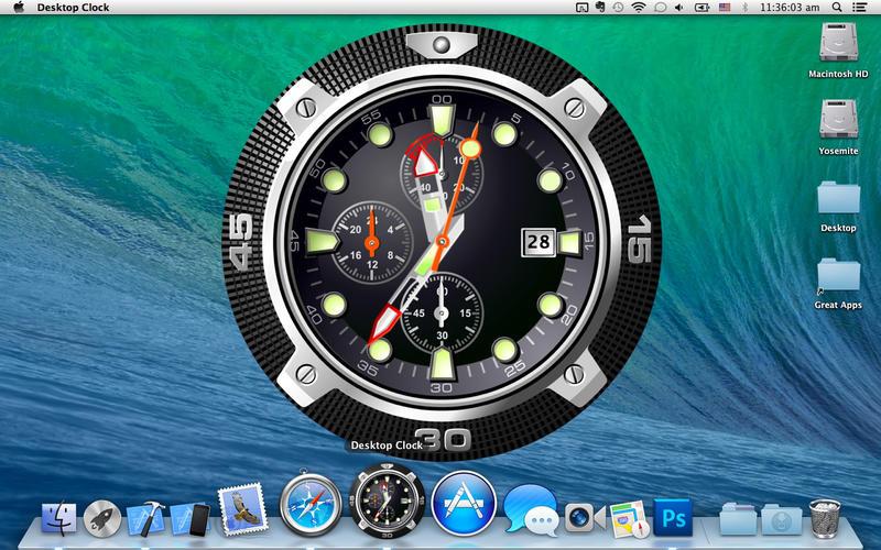 桌面时钟:动态壁纸和码头图标在桌面上 +截图4