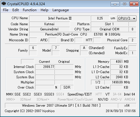 CrystalCPUID(CPU检测超频工具)