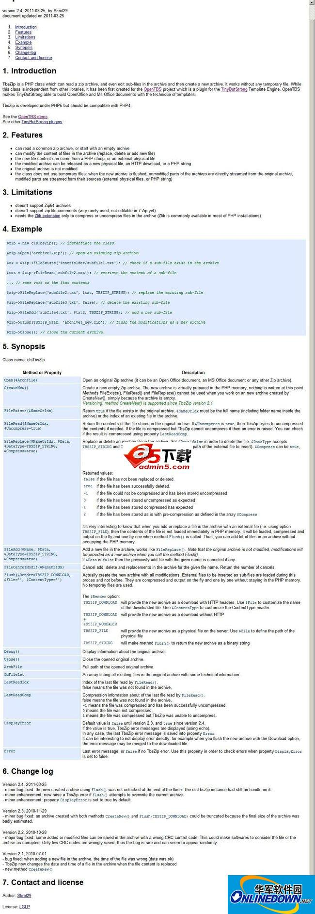 TbsZip(PHP 的压缩包处理类)