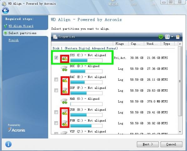 西数硬盘4k对齐工具WDAlign截图