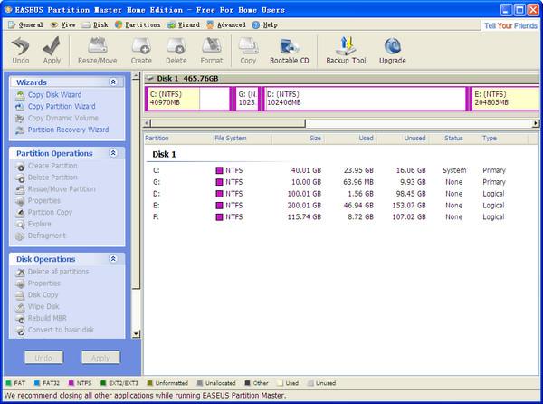 EASEUS Partition Manager(硬盘分区管理工具)截图