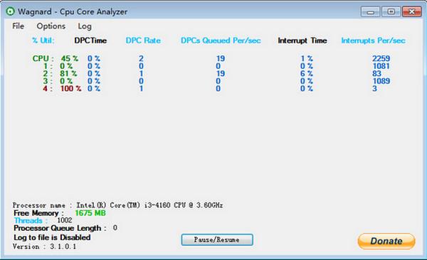 CPU内核分析软件截图